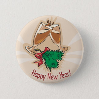Happy New Year Champagne Clink 2 Inch Round Button