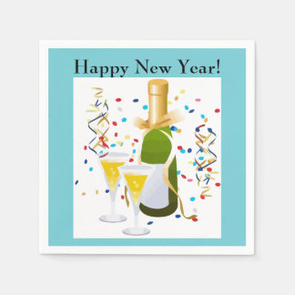 Happy New Year champagne confetti cocktail napkins Paper Napkins