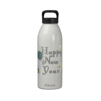 Happy New Year - Champagne Glasses and Clock Water Bottle