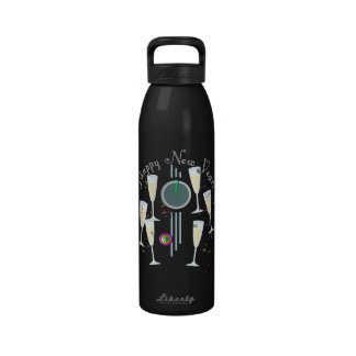 Happy New Year - Champagne Glasses and Clock Reusable Water Bottle
