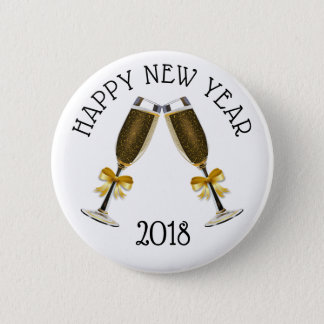 Happy New Year Champagne Glasses Button