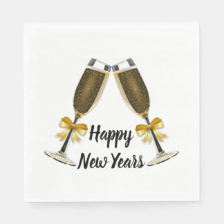 Happy New Year Champagne Glasses Paper Napkin