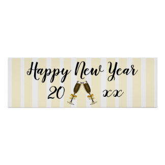 Happy New Year Champagne Glasses Poster Banner