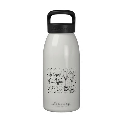 Happy New Year Champagne Glasses Reusable Water Bottle