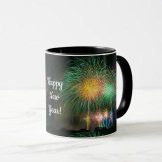 Happy New Year Colorful Fireworks Coffee Mug