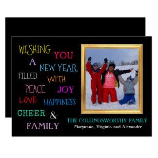 Happy New Year Colorful Typography With Photograph Card