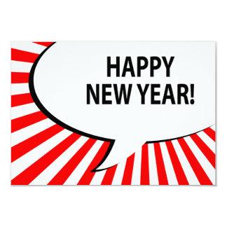 happy new year! comic bubble personalized invitation