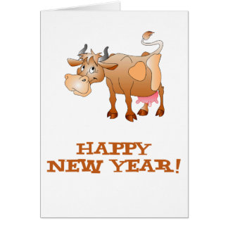 Happy New Year Cow Card