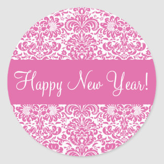 Happy New Year Damask Envelope Sticker Seal