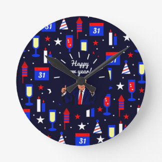 happy new year donald trump round clock