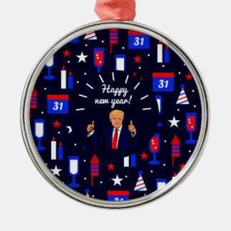 happy new year donald trump Silver-Colored round ornament