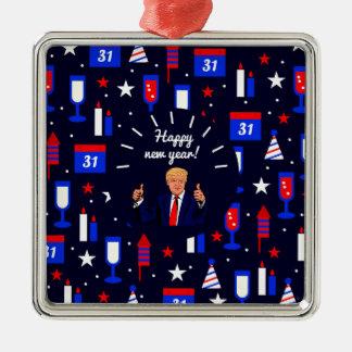 happy new year donald trump Silver-Colored square ornament