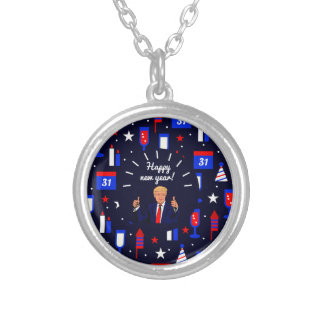 happy new year donald trump silver plated necklace