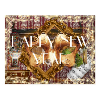 Happy New Year Elegant Fantasy Luxury Postcard