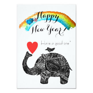 Happy New Year Elephant and Blue Bird Card