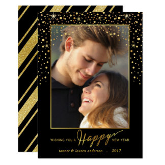 Happy New Year Faux Foil Confetti Holiday Photo Card