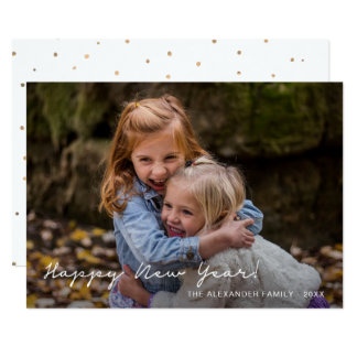 Happy New Year Faux Gold Dots Add Photo and Name Card