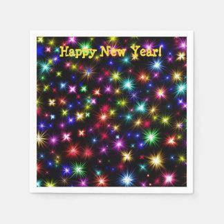 Happy New Year festive fireworks cocktail napkins