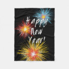Happy New Year Firework Fleece Blanket