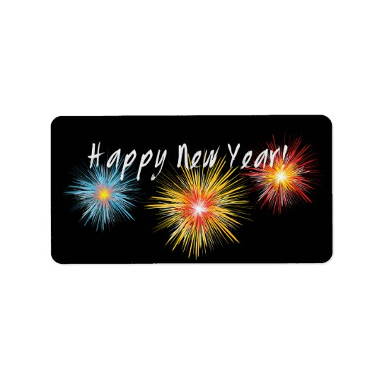 Happy New Year Firework Label