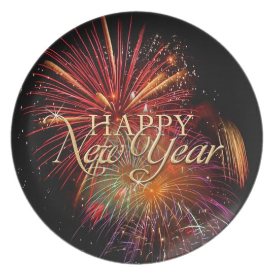 Happy New Year Fireworks plate