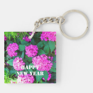 HAPPY NEW YEAR flower floral keychains