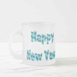 happy new year frosted glass coffee mug