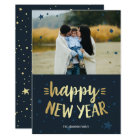 Happy New Year | Gold & Blue New Year Photo Card