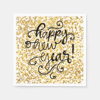 Happy New Year Gold Confetti Holiday Napkin