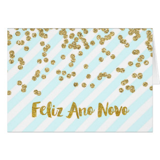 Happy New Year Gold Confetti Stripes Portuguese Greeting Card