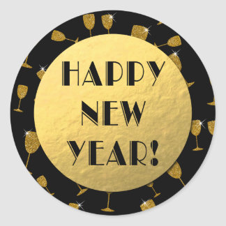 Happy New Year! Gold Foil and Black Round Sticker