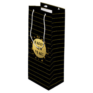 Happy New Year, Gold Foil, Black Wine Gift Bag