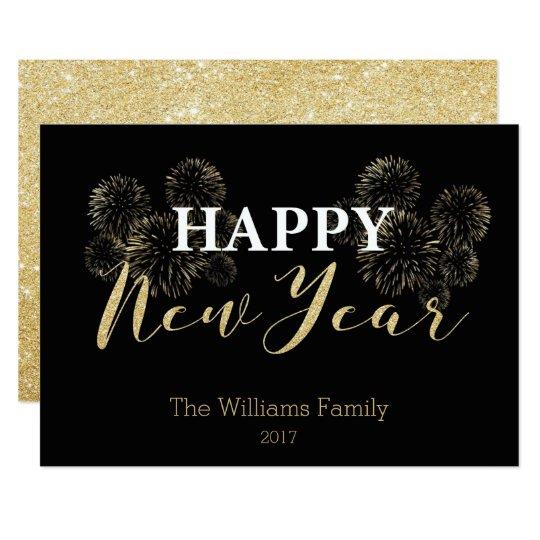 Happy New Year Gold Glitter Card