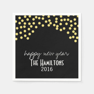 Happy New Year Gold Glitter Cocktail Party Napkin Disposable Napkin