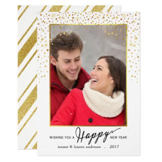 Happy New Year Gold Glitter Confetti Holiday Photo Card