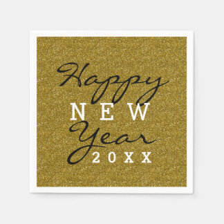 Happy New Year Gold Glitter Disposable Napkin
