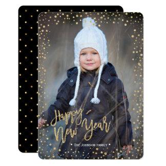 Happy New Year | Gold | Glitter Dots | Photo Card