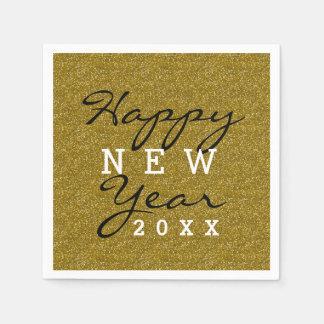 Happy New Year Gold Glitter Napkin
