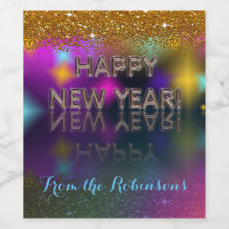 Happy New Year! Gold Glitter | Personalize It! Wine Label
