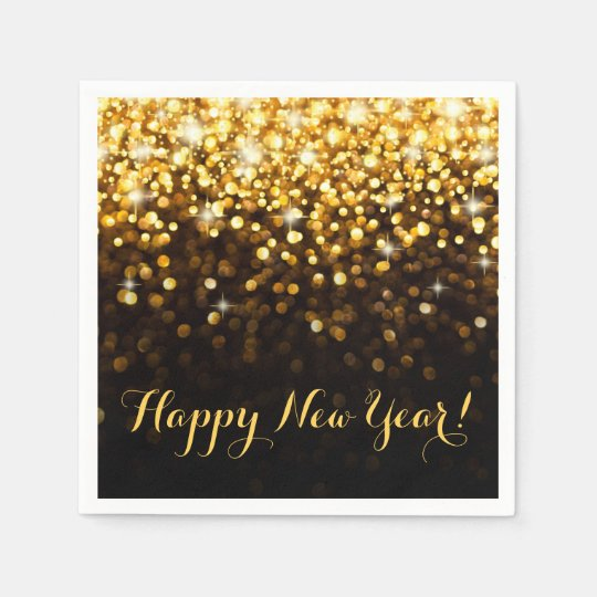 Happy New Year Gold Glitter Sparkle New Years Eve Disposable Napkins