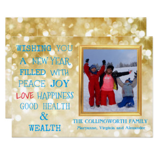 Happy New Year Gold Glitter With Photograph Card