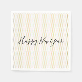 Happy New Year Gold Polka Dot Holiday Napkin Disposable Napkins