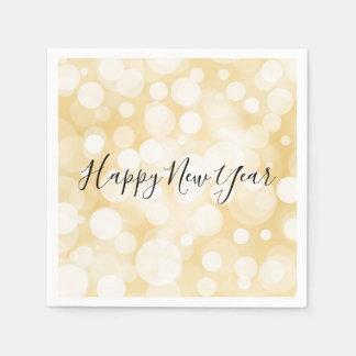 Happy New Year Gold Polka Dot Holiday Napkin Paper Napkins