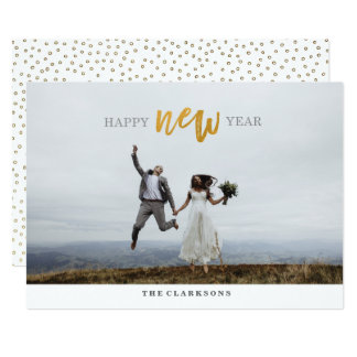 Happy New Year Gold Script Photo Card