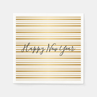 Happy New Year Gold Striped Pattern Holiday Napkin