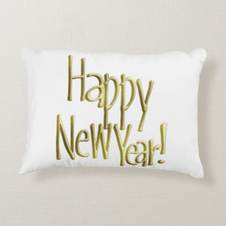Happy New Year - Gold Text (Add Background Colour) Decorative Pillow