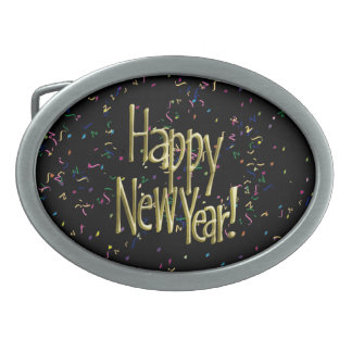 Happy New Year - Gold Text on Black Confetti Belt Buckles