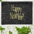 Happy New Year - Gold Text on Black Confetti Kitchen Towel