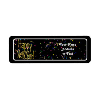 Happy New Year - Gold Text on Black Confetti Return Address Label