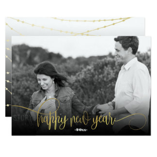 Happy New Year|Golden Lights Photo Card